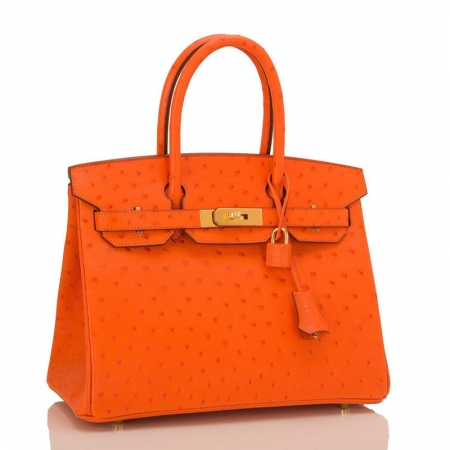 Classic Padlock Genuine Ostrich Skin Top Handle Handbags-Orange-Front