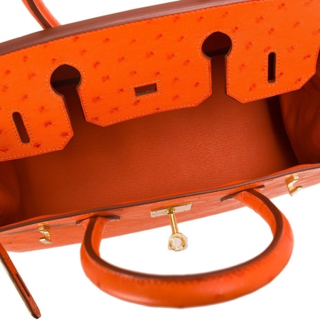 Classic Padlock Genuine Ostrich Skin Top Handle Handbags-Orange-Inside