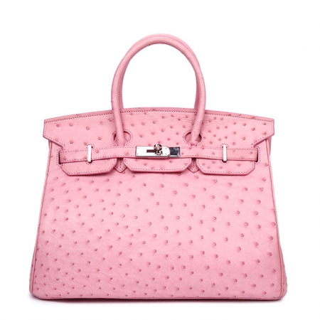 Classic Padlock Genuine Ostrich Skin Top Handle Handbags-Pink