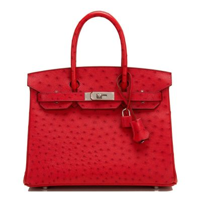 Classic Padlock Genuine Ostrich Skin Top Handle Handbags-Red