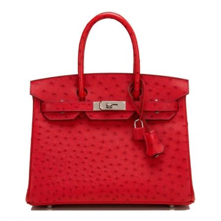 Classic Padlock Genuine Ostrich Skin Top Handle Handbags-Red