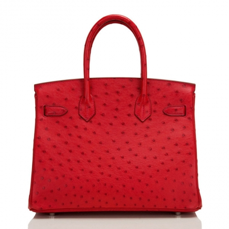 Classic Padlock Genuine Ostrich Skin Top Handle Handbags-Red-Back