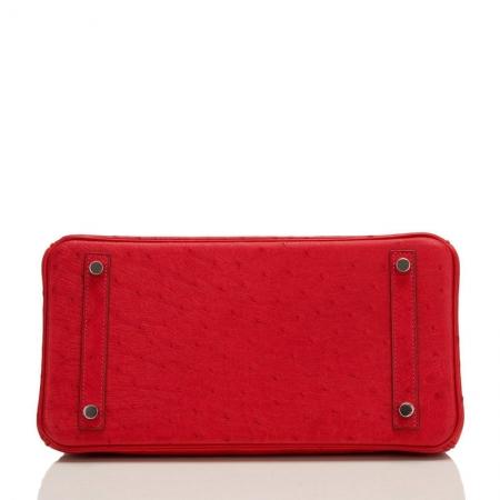 Classic Padlock Genuine Ostrich Skin Top Handle Handbags-Red-Bottom
