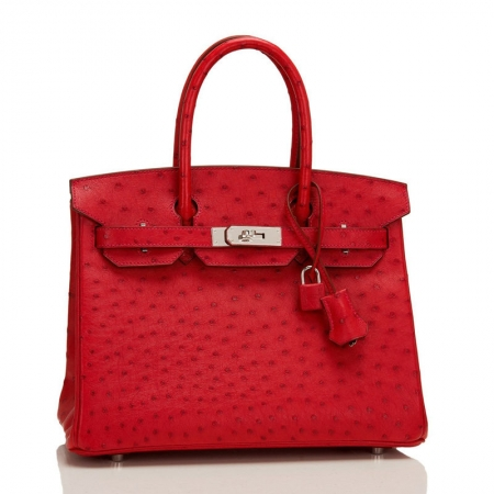 Classic Padlock Genuine Ostrich Skin Top Handle Handbags-Red-Front