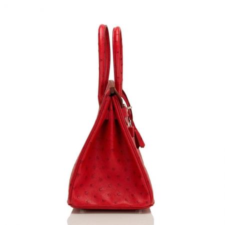 Classic Padlock Genuine Ostrich Skin Top Handle Handbags-Red-Side