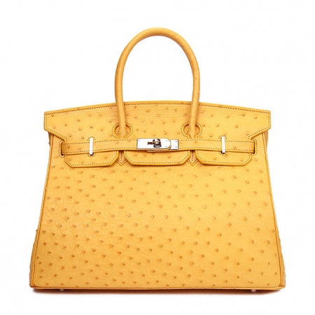 Classic Padlock Genuine Ostrich Skin Top Handle Handbags-Yellow