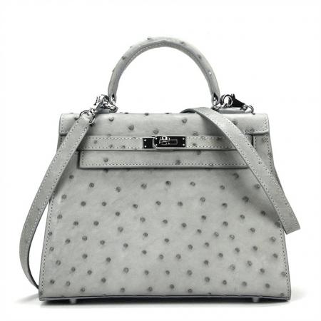 Designer Padlock Ostrich Leather Satchel Purse Crossbody Bag Handbag
