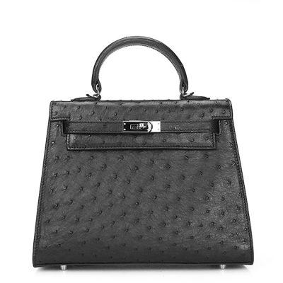 Designer Padlock Ostrich Leather Satchel Purse Crossbody Bag Handbag-Black