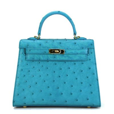 Designer Padlock Ostrich Leather Satchel Purse Crossbody Bag Handbag-Blue