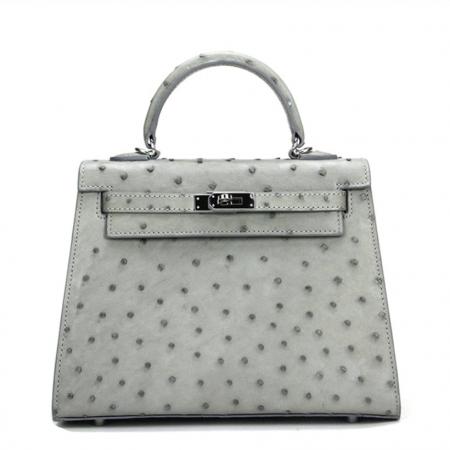 Designer Padlock Ostrich Leather Satchel Purse Crossbody Bag Handbag-Gray