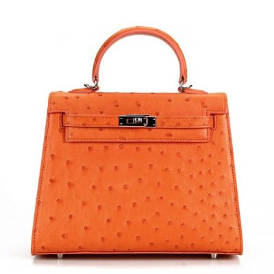 Designer Padlock Ostrich Leather Satchel Purse Crossbody Bag Handbag-Orange