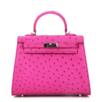 Designer Padlock Ostrich Leather Satchel Purse Crossbody Bag Handbag-Pink