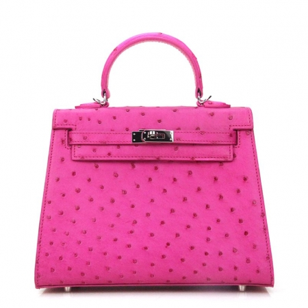 Designer Padlock Ostrich Leather Satchel Purse Crossbody Bag Handbag-Pink