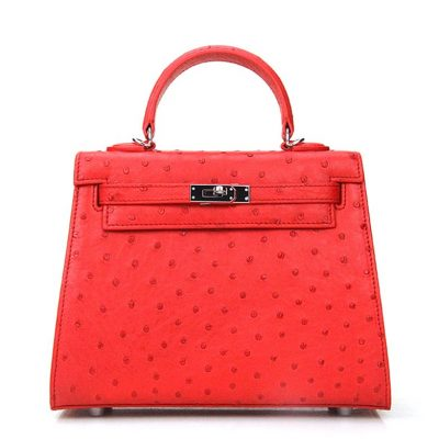 Designer Padlock Ostrich Leather Satchel Purse Crossbody Bag Handbag-Red