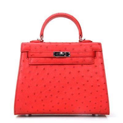 Designer Padlock Ostrich Leather Satchel Purse Crossbody Bag Handbag-Red