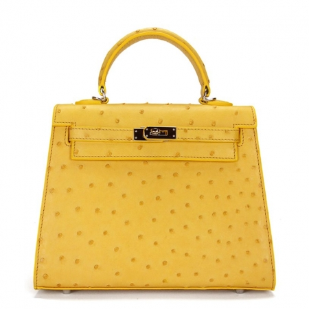 Designer Padlock Ostrich Leather Satchel Purse Crossbody Bag Handbag-Yellow