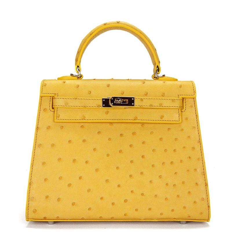 Designer Padlock Ostrich Leather
