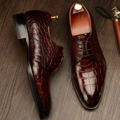 Formal Alligator Leather Lace Up Derby Dress Shoes for Men
