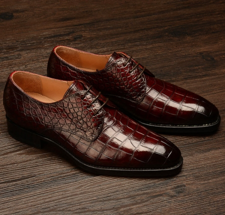 Formal Alligator Leather Lace Up Derby Dress Shoes for Men-Display