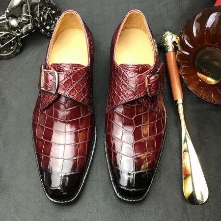 Formal Business Comfortable Alligator Skin Single Monk Strap Shoes For Men