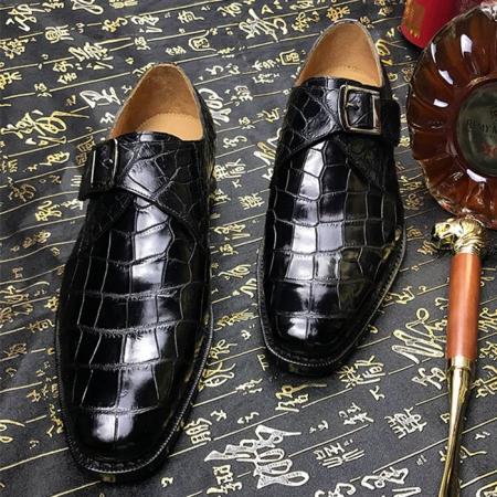 Formal Business Comfortable Alligator Skin Single Monk Strap Shoes For Men-Black