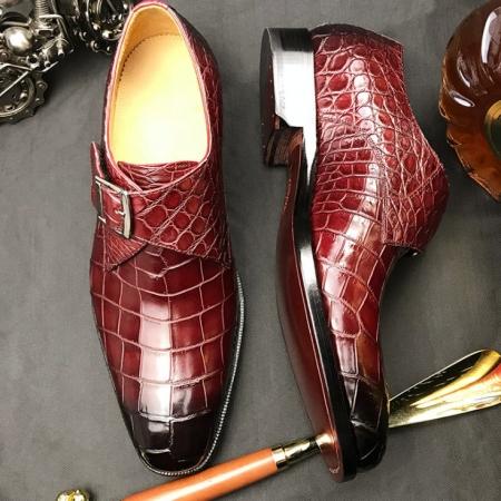 Formal Business Comfortable Alligator Skin Single Monk Strap Shoes For Men-Details