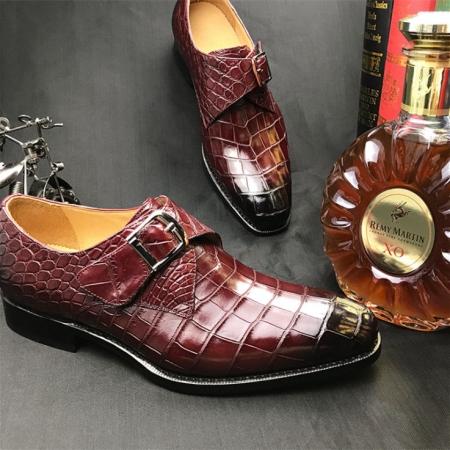 Formal Business Comfortable Alligator Skin Single Monk Strap Shoes For Men-Display