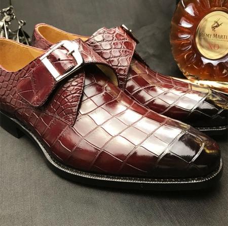 Formal Business Comfortable Alligator Skin Single Monk Strap Shoes For Men-Upper-1