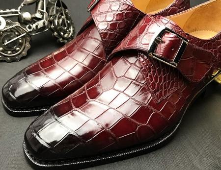 Formal Business Comfortable Alligator Skin Single Monk Strap Shoes For Men-Upper-2