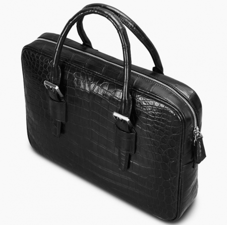 Mens Alligator Leather Business Work Briefcase Laptop Bag-Top