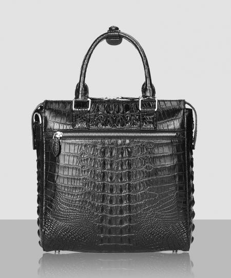 Modern Men's Crocodile Leather Briefcase Business Laptop Bag-Back
