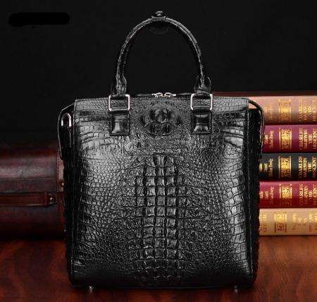 Modern Men's Crocodile Leather Briefcase Business Laptop Bag-Black