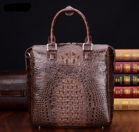 Modern Men's Crocodile Leather Briefcase Business Laptop Bag-Brown