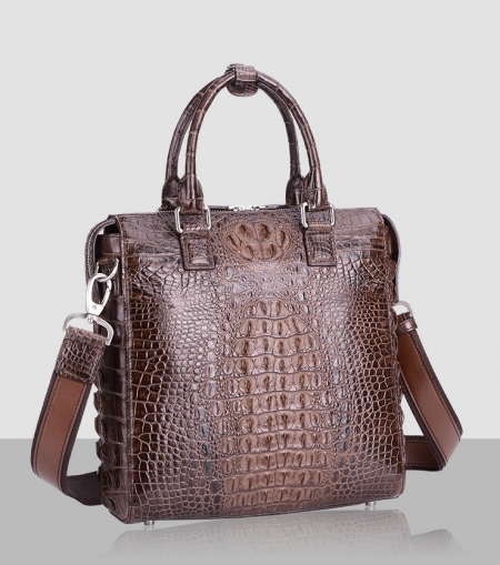 Modern Men's Crocodile Leather Briefcase Business Laptop Bag-Brown-Front