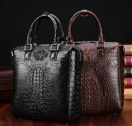 Modern Men's Crocodile Leather Briefcase Business Laptop Bag-Display