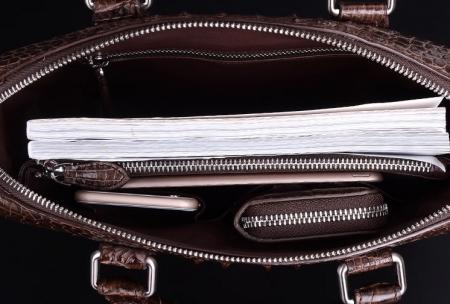 Modern Men's Crocodile Leather Briefcase Business Laptop Bag-Inside