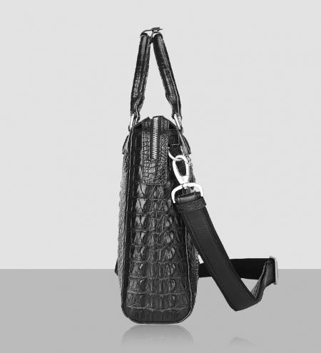 Modern Men's Crocodile Leather Briefcase Business Laptop Bag-Side