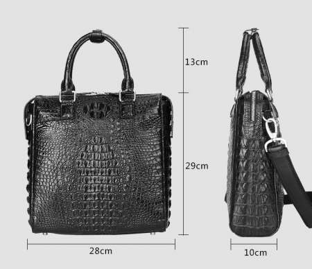 Modern Men's Crocodile Leather Briefcase Business Laptop Bag-Size