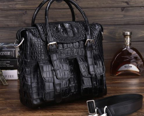 Multiple-pocket crocodile skin bag