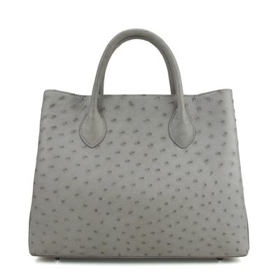 Ostrich Handbag Shoulder Bag Tote Purse-Gray