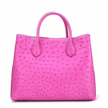 Ostrich Handbag Shoulder Bag Tote Purse-Pink