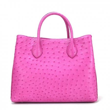 Ostrich Handbag Shoulder Bag Tote Purse-Pink