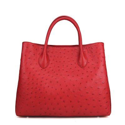 Ostrich Handbag Shoulder Bag Tote Purse-Red