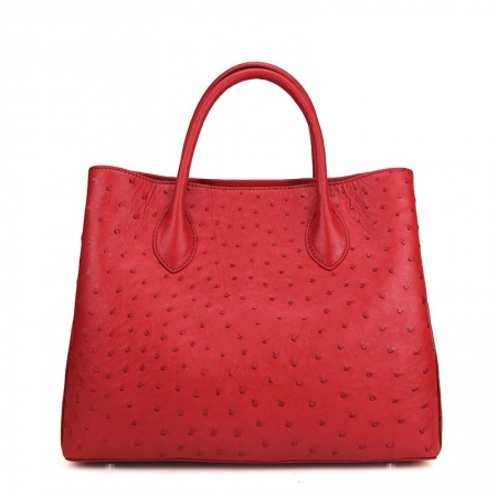 Ostrich Handbag Shoulder Bag Tote Purse-Red