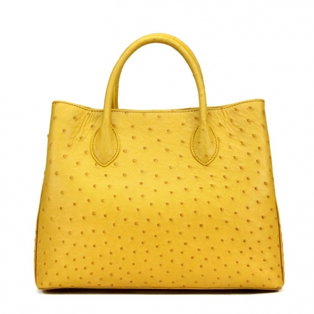 Ostrich Handbag Shoulder Bag Tote Purse-Yellow