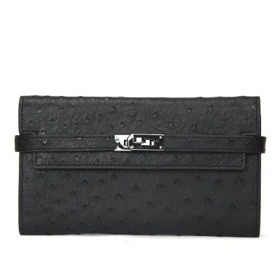 Ostrich Leather Wallet Clutch Purse-Black