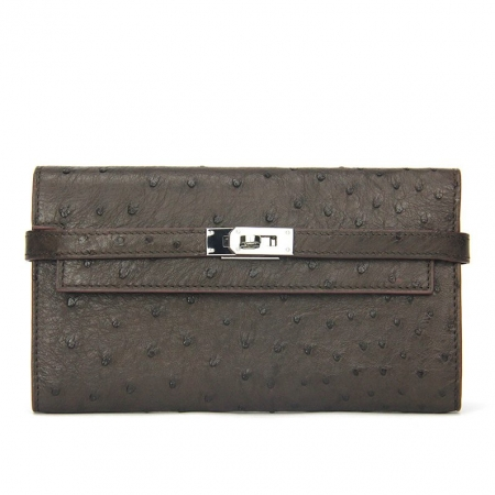 Ostrich Leather Wallet Clutch Purse-Coffee