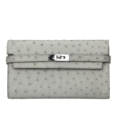 Ostrich Leather Wallet Clutch Purse-Gray