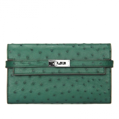 Ostrich Leather Wallet Clutch Purse-Green