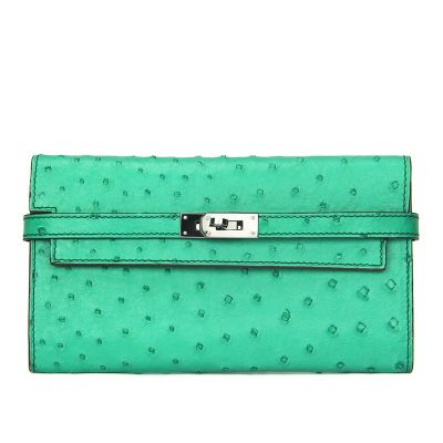 Ostrich Leather Wallet Clutch Purse-Light Green